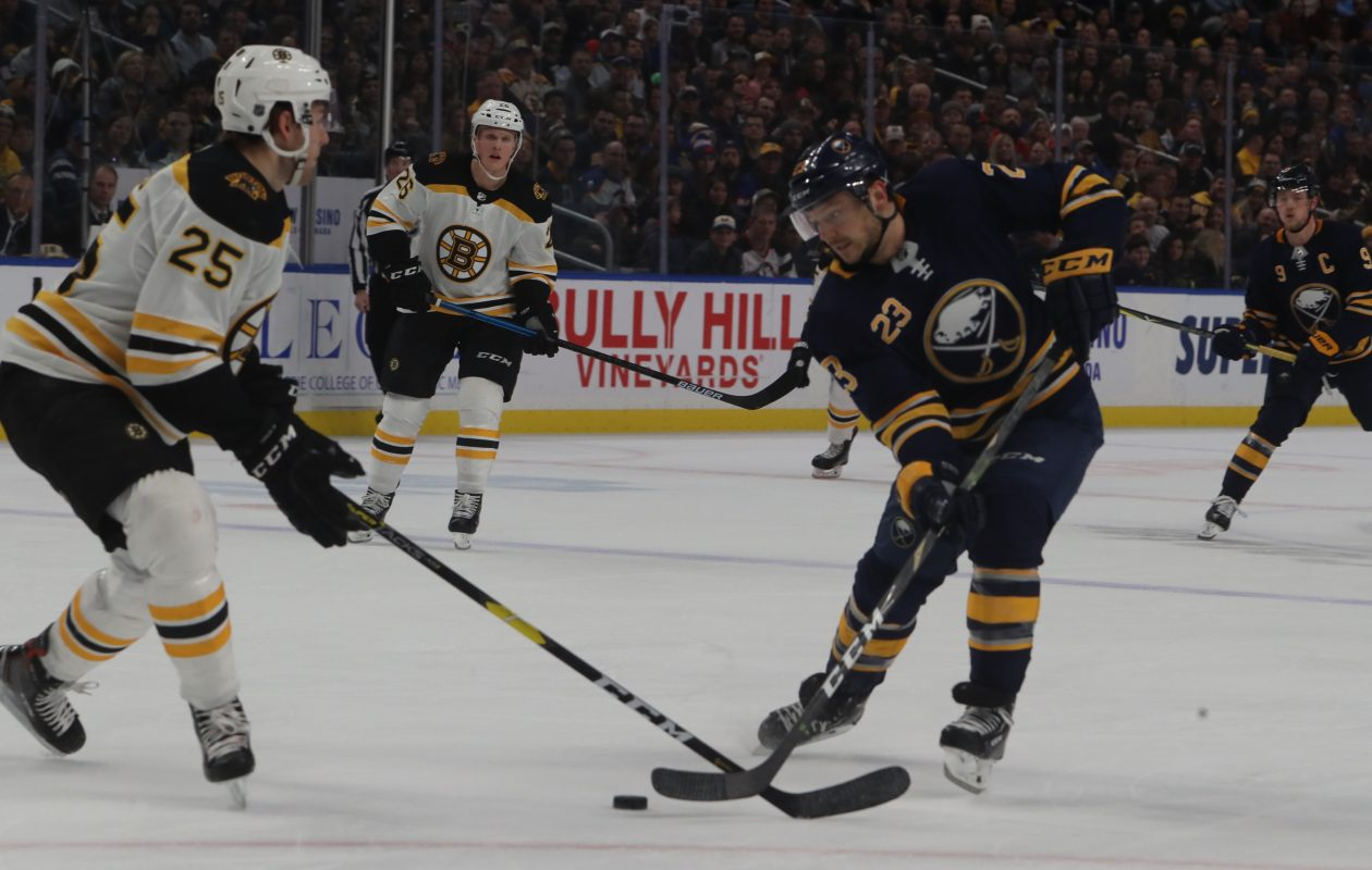 Buffalo Sabres winger Sam Reinhart (right) has a career-high 31 assists this season. (John Hickey/Buffalo News)