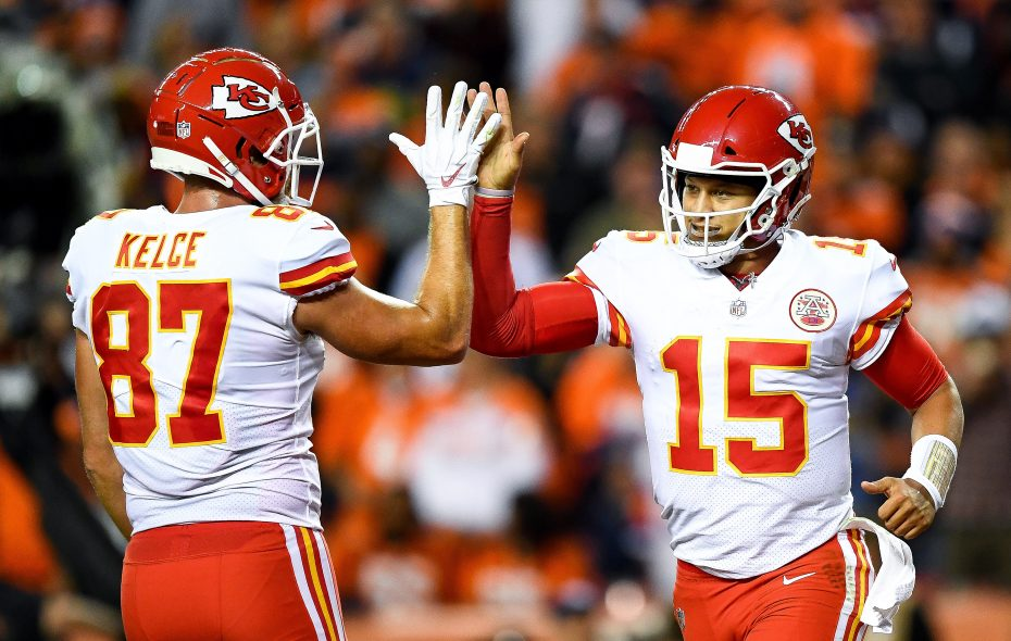 Tight end Travis Kelce and quarterback Patrick Mahomes have connected a lot this season for the Chiefs. (Getty Images)