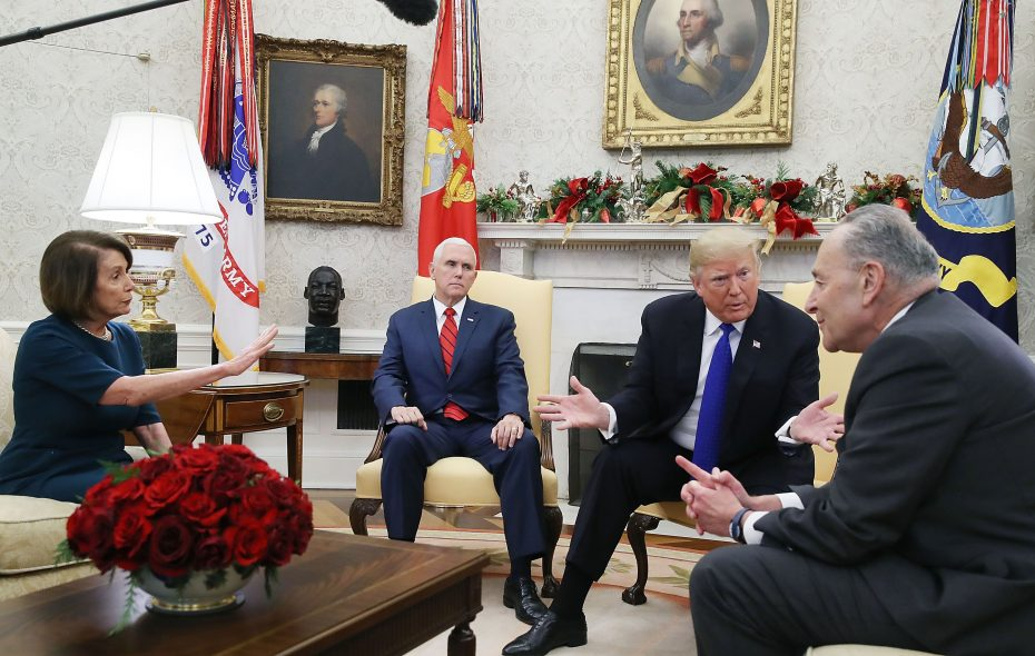 President Trump told Democratic leaders he would be proud to shut down the government over funding for a border wall, which he has long promised Mexico – not U.S. taxpayers – would pay for. (Getty images)
