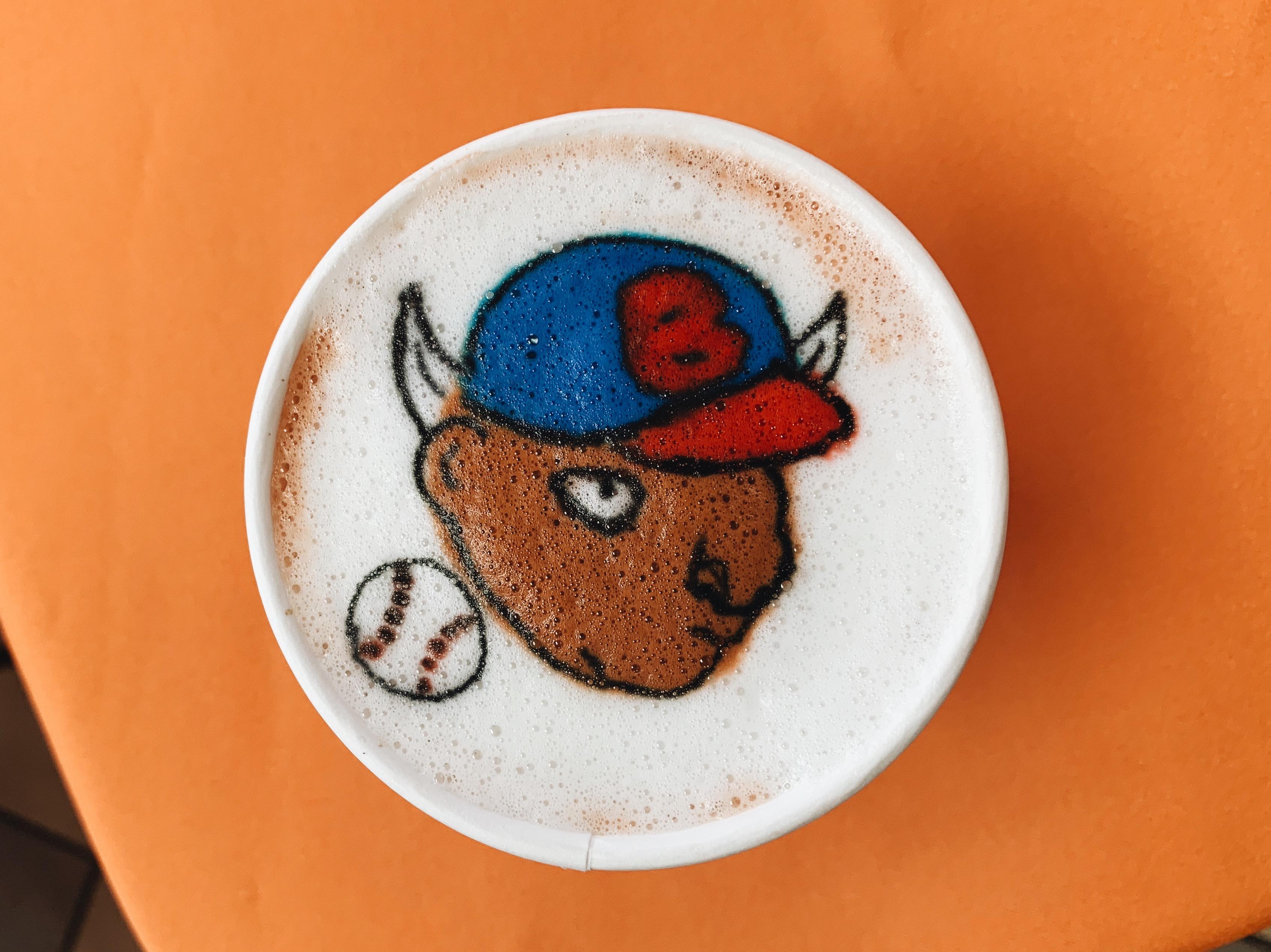 Michael Breach, a latte artist, created a familiar face in a Dunkin Donuts latte in Niagara Falls.