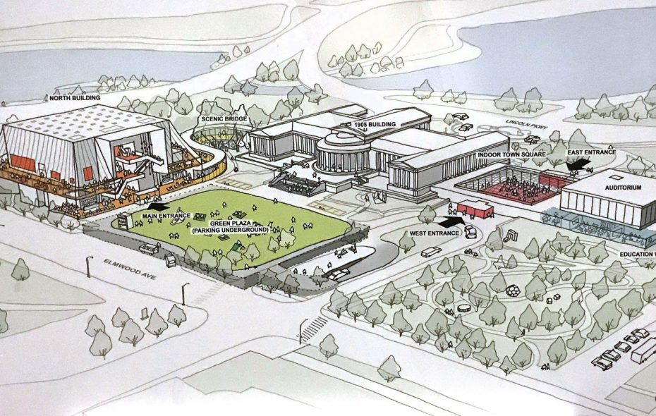 Artistic rendering depicts expansion plans for the Albright-Knox Art Gallery.