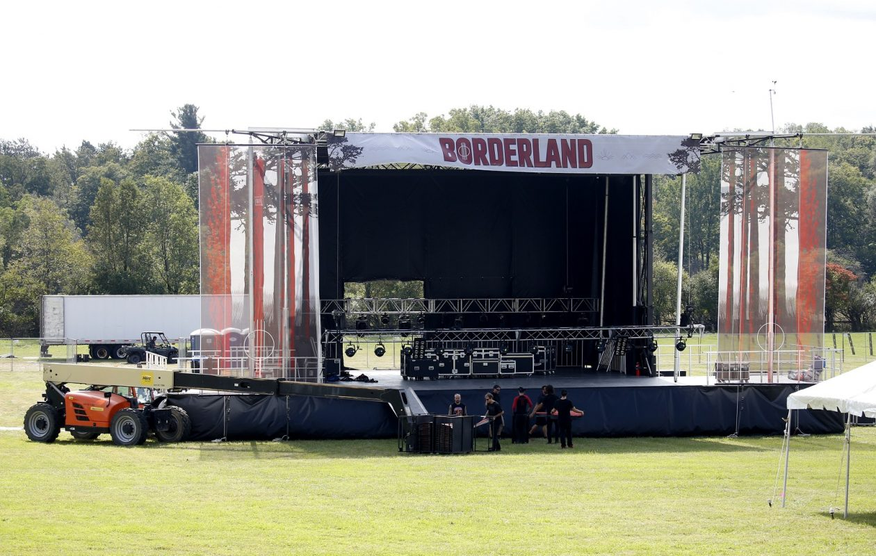 The stage as it was being set up for the debut run of the Borderland Festival in September. The two-day music arts and crafts festival will return to Knox Farm State Park in September of 2019.  (Robert Kirkham/Buffalo News)