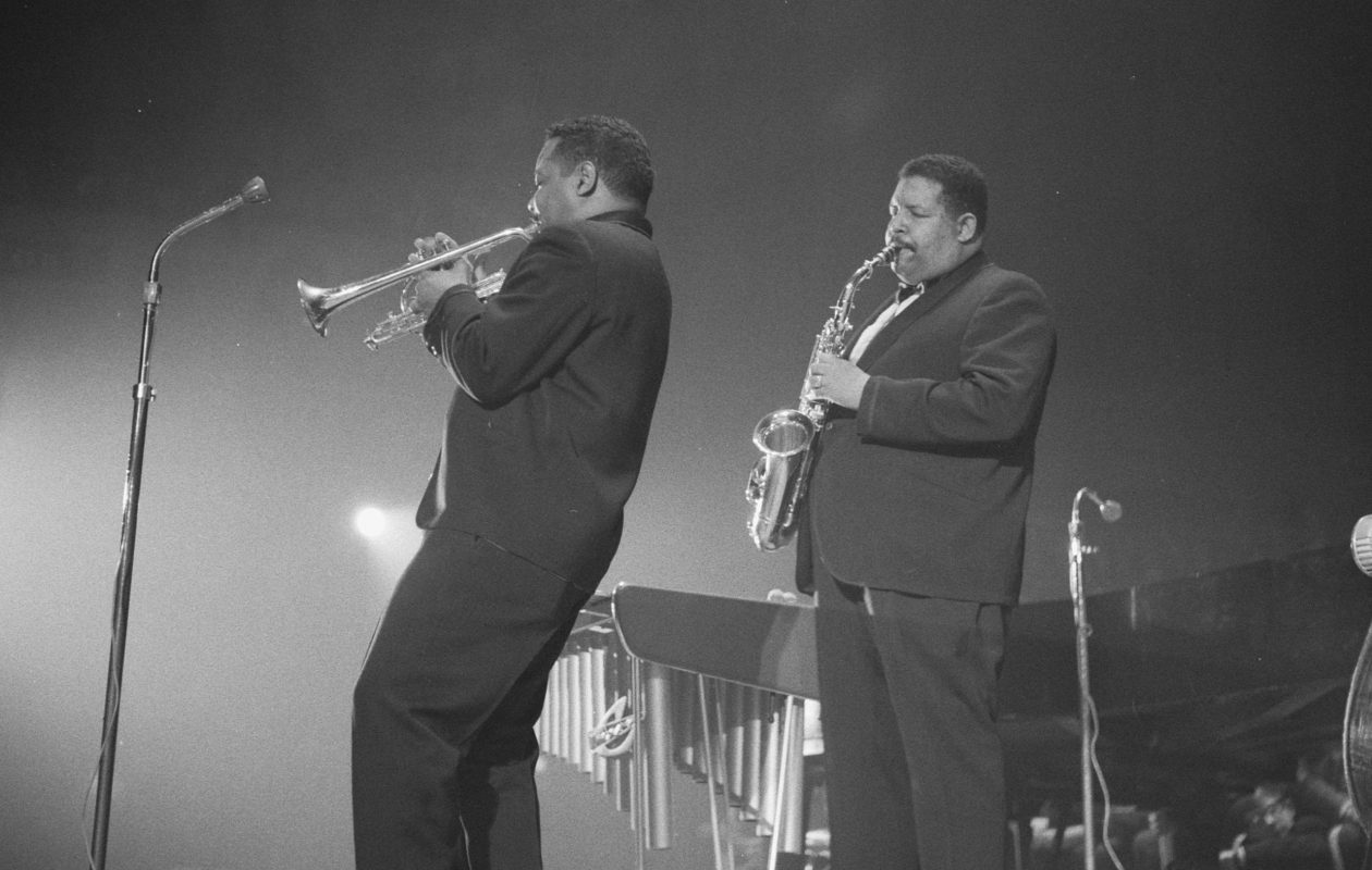 Cannonball Adderley, right, in 1961. (Image via https://commons.wikimedia.org/wiki/File:Cannonball1961_(crop).jpg)