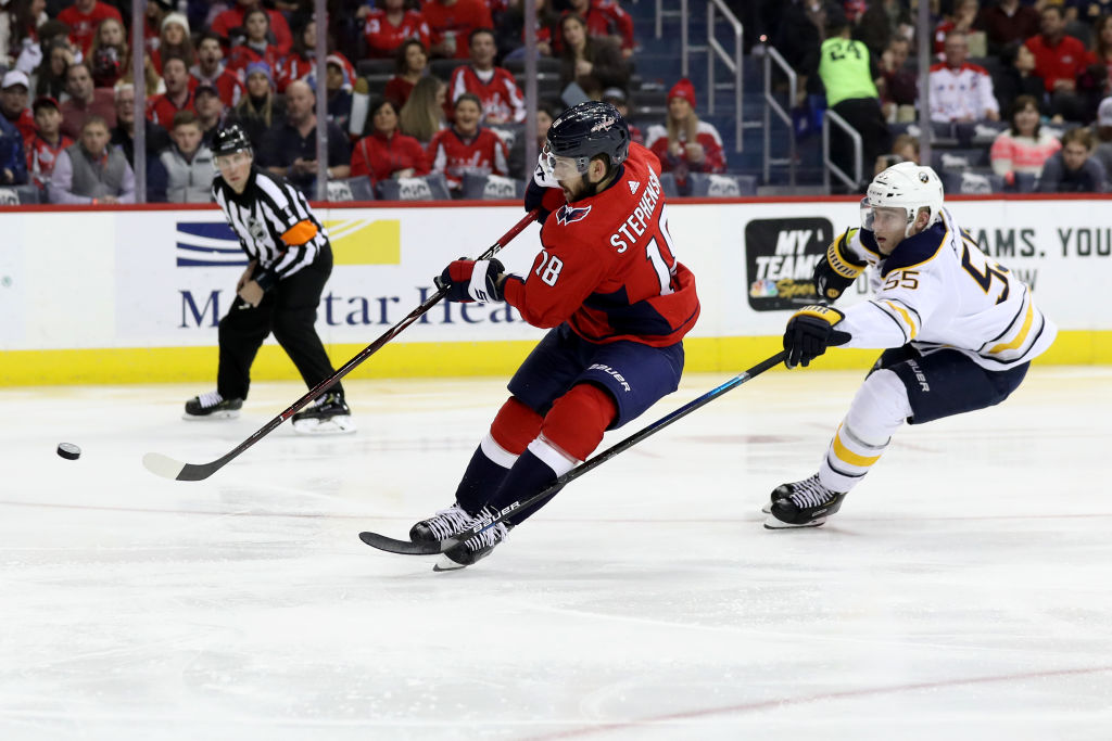 Chandler Stephenson of the Capitals beats Rasmus Ristolainen to score a  short-handed goal in 200c311da4e2