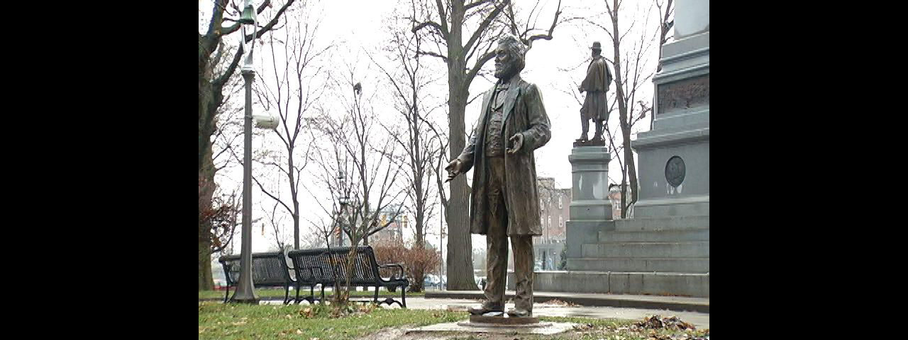 The Douglass statue that was vandalized looked like this one, another in Rochester. (Photo courtesy WHEC)