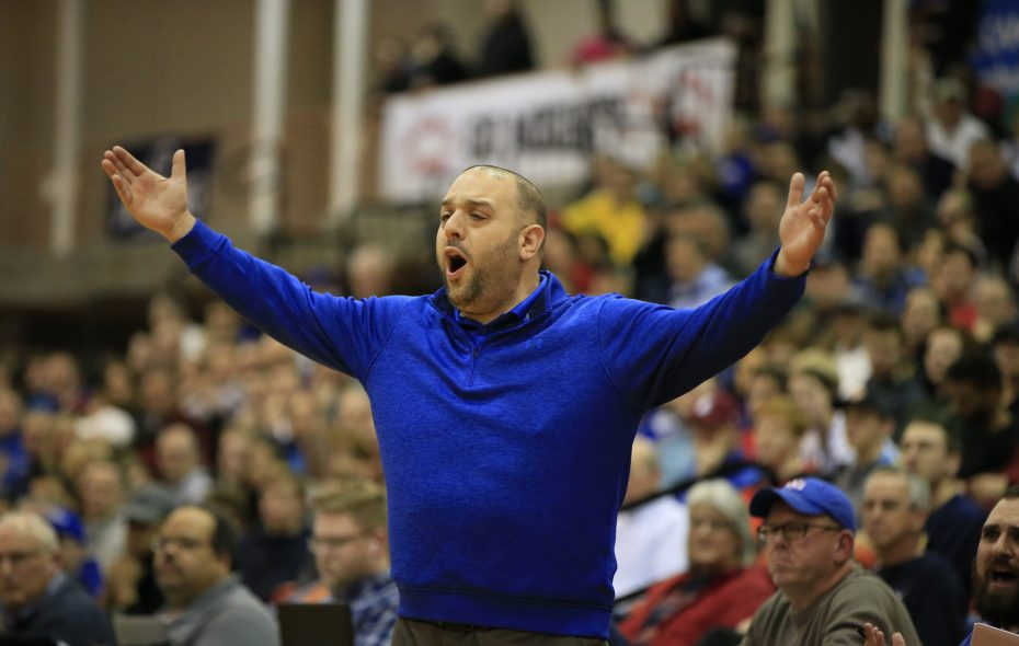 Gabe Michael, coach of Williamsville South, questions a call during the title game against West Seneca West on March 3, 2018. (Harry Scull Jr./News file photo)
