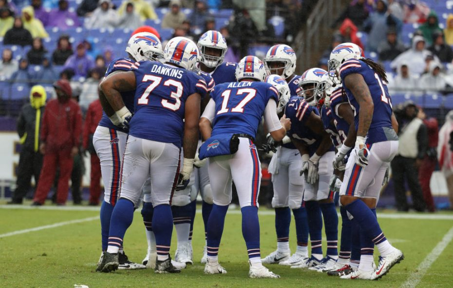 Josh Allen huddles with the offense in the third quarter against the Baltimore Ravens at M&T Bank Stadium on September 9, 2018 in Baltimore, Maryland. (Photo by Rob Carr/Getty Images)