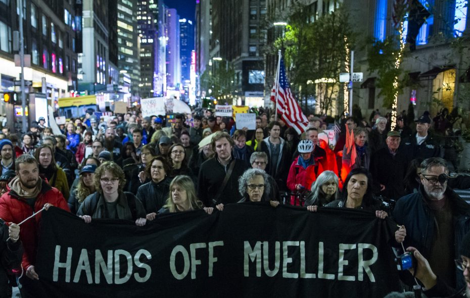 People march through Times Square during a protest the day after President Trump forced the resignation of Attorney General Jeff Sessions on Nov. 8, 2018, in New York City. Trump abruptly dismissed Sessions following the midterm elections, putting the future of Special Councel Robert Mueller's Russia investigation in jeopardy. (Photo by Eduardo Munoz Alvarez/Getty Images)