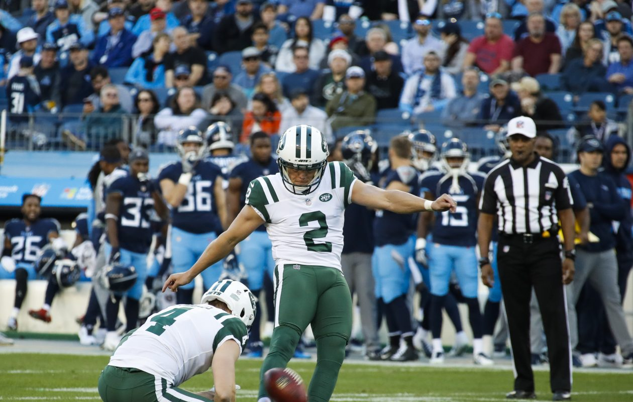 Jason Myers #2 of the New York Jets kicks a an extra point during the second quarter against the Tennessee Titans at Nissan Stadium on Dec. 2 in Nashville. (Getty Images)