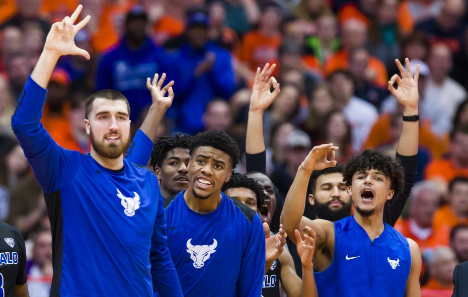 Buffalo players celebrate during the second half against Syracuse (Brett Carlsen/Getty Images)