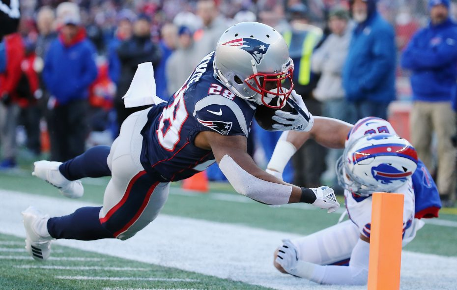 James White and the Patriots had a big day on the ground against the Bills on Sunday. (Getty Images)