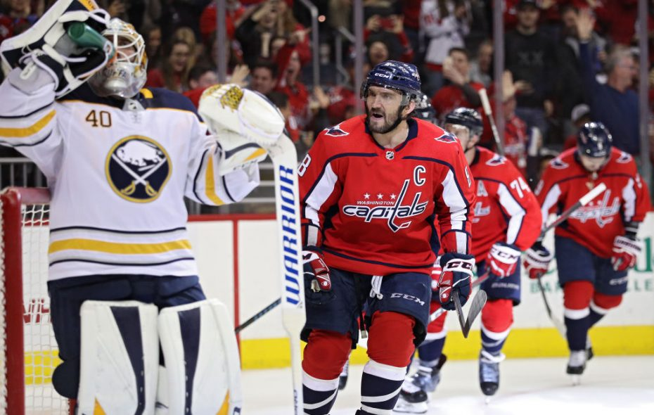 Washington winger Alex Ovechkin yells toward Buffalo goalie Carter Hutton after scoring a second-period goal Saturday night at Capital One Arena. (Getty Images)