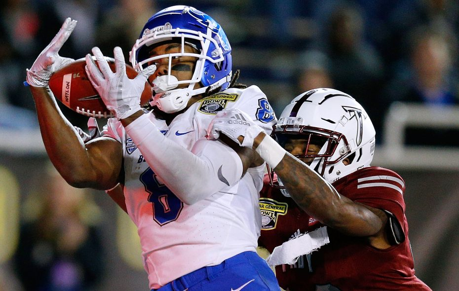 Terence Dunlap of Troy breaks up a pass intended for UB wide receiver K.J. Osborn (Jonathan Bachman/Getty Images)