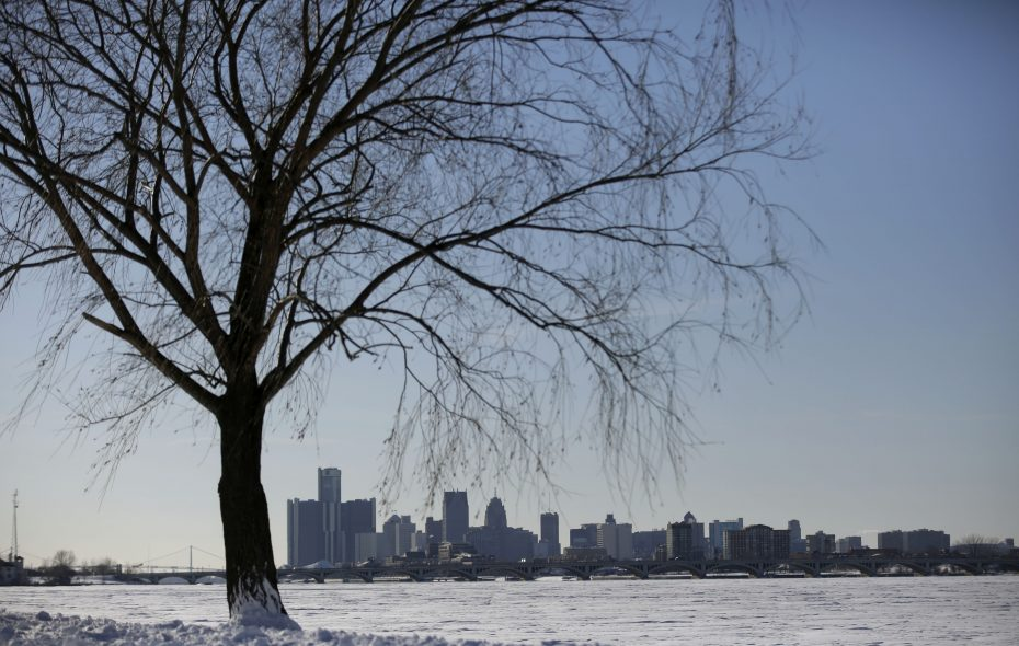 Snow covers the ground as the Detroit skyline stands in the background on Feb. 2, 2015. (Getty Images)