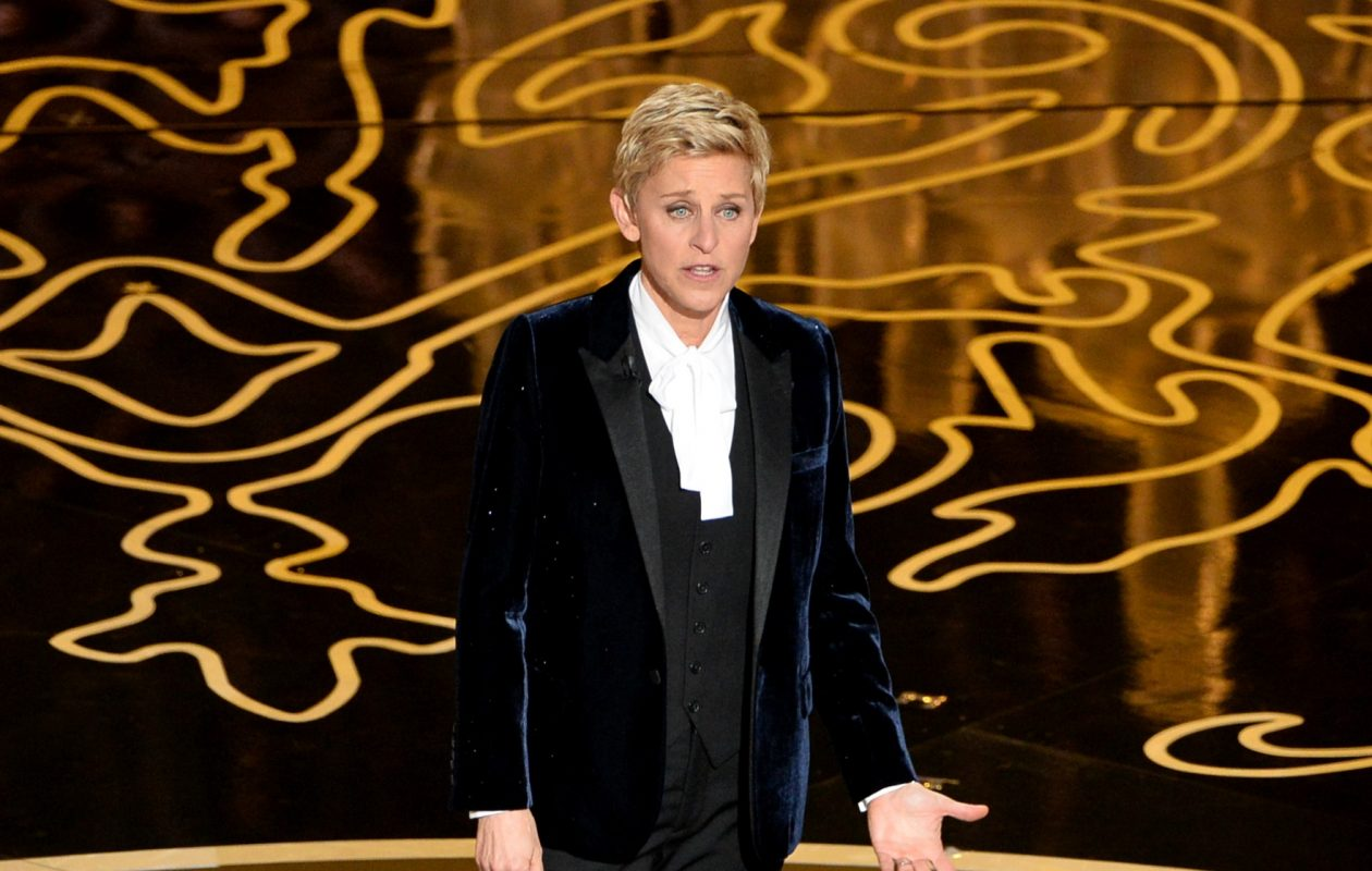 Host Ellen DeGeneres speaks onstage during the 2014 Oscars at the Dolby Theatre in Hollywood. (Getty Images)