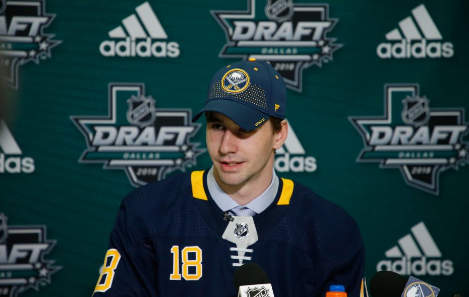 Mattias Samuelsson after being selected 32nd overall by the Buffalo Sabres. (Ron Jenkins/Getty Images)