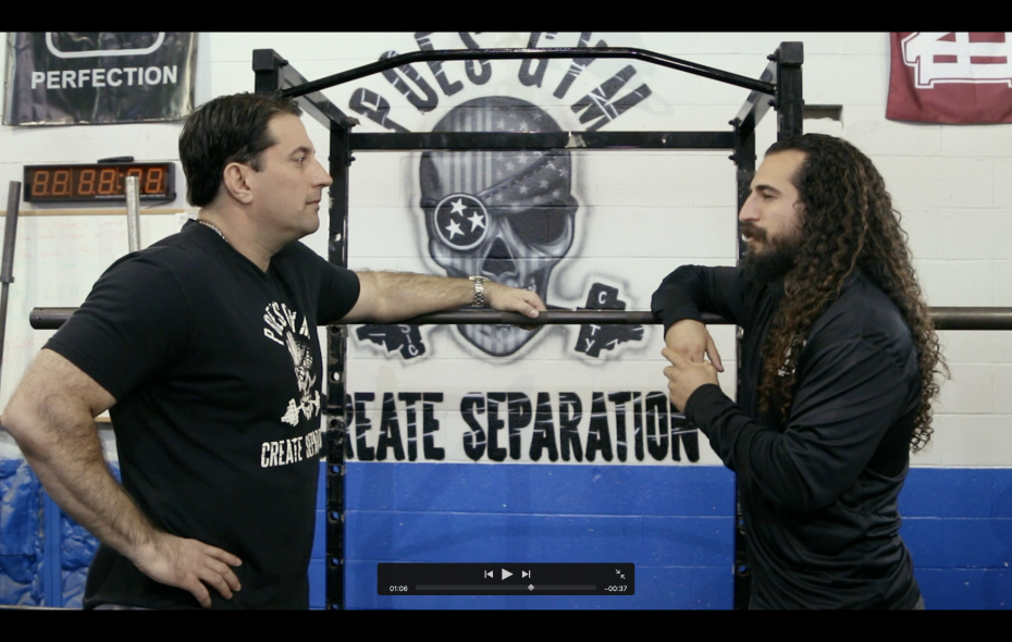 """Matt Poe, left, owner of Poe's Gym, and """"Farb,"""" host of """"Gymratts."""" (Photo courtesy of Marc Honan)"""