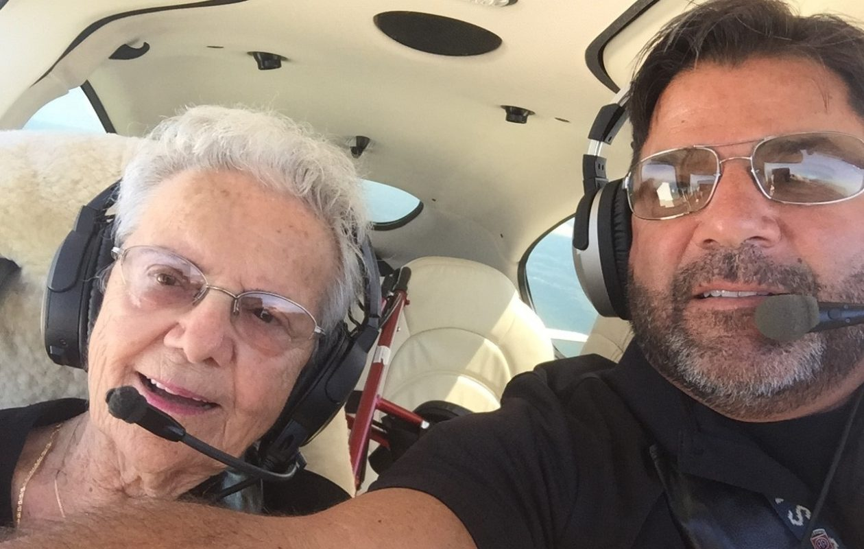 Joseph DeMarco Sr., right, founder of Wings Flights of Hope, estimates he has flown almost 5,000 passengers on medical-related flights. Sometimes, he'll even take his mother, Josephine, 88, left, for a ride in one of his two planes, too. (Photos courtesy of Wings Flights of Hope)