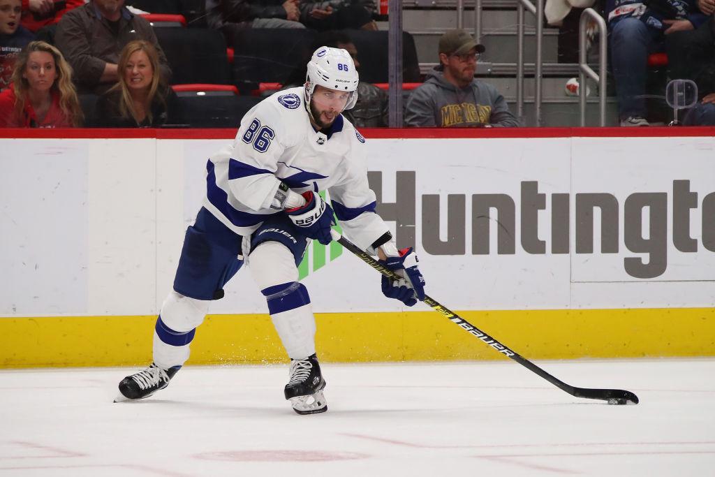 Tampa Bay's Nikita Kucherov has taken over the NHL scoring lead. (Getty Images)