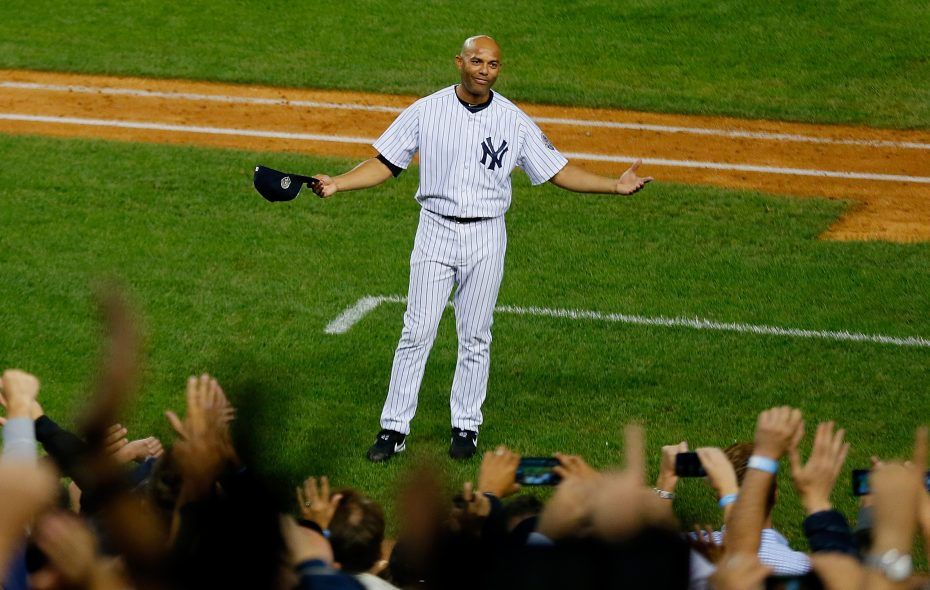 Mariano Rivera acknowledges the Yankee Stadium fans after leaving his final game in the Bronx on Sept. 26, 2013. (Getty Images).
