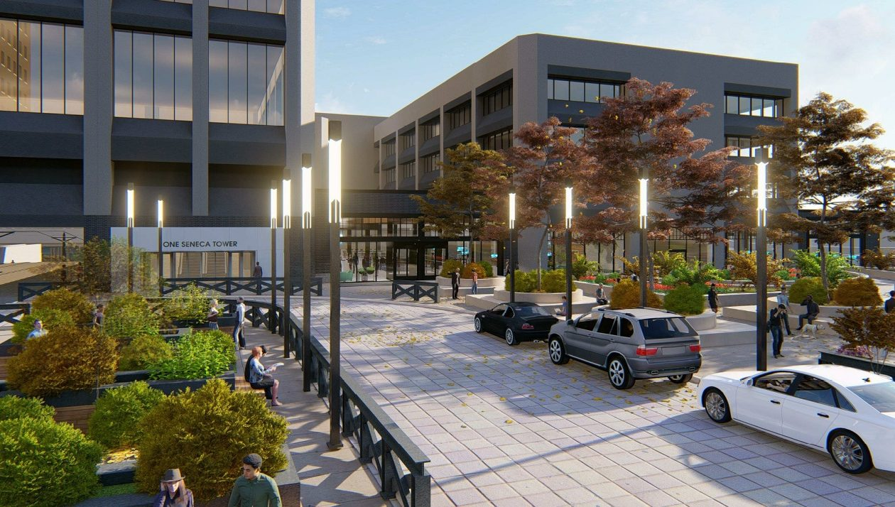 A rendering of the new office addition to One Seneca Tower.