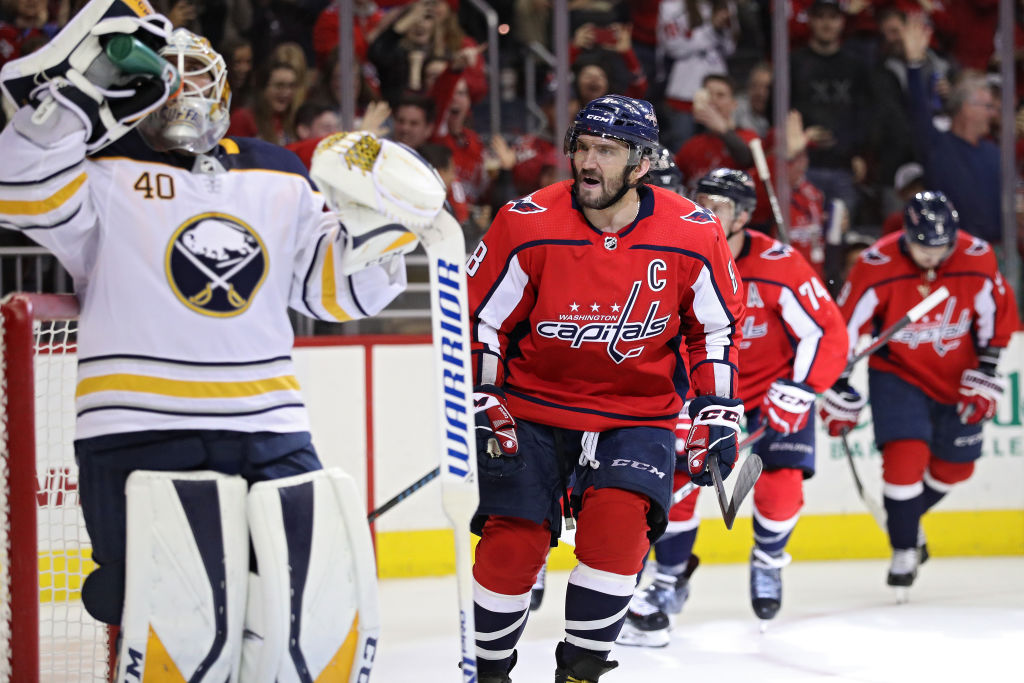 Alex Ovechkin yells toward Sabres goalie Carter Hutton after scoring in the second period of the teams' game Saturday in Capital One Arena. (Getty Images)