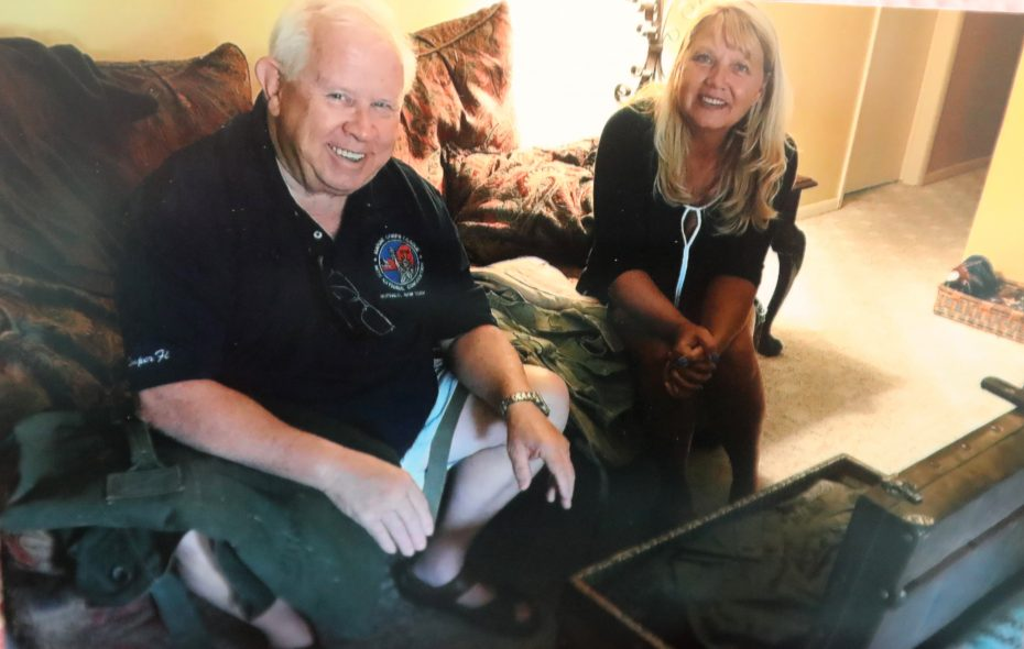 Marine Corps veteran Paul Schultz of North Tonawanda tells Kristen O'Neill how her father James Prommersberger  volunteered 52 years ago in Vietnam to take Schultz's place on a patrol because Schultz was ill. Prommersberger, who was Schultz's best friend in Vietnam, was killed during the mission. (John Hickey/Buffalo News)