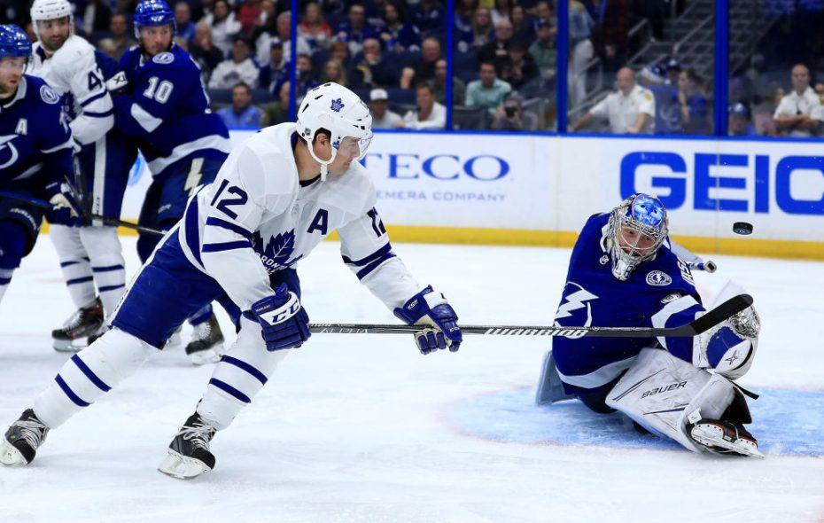 Tampa Bay goalie Andrei Vasilevskiy stymies Toronto's Patrck Marleau Thursday night (Getty Images).