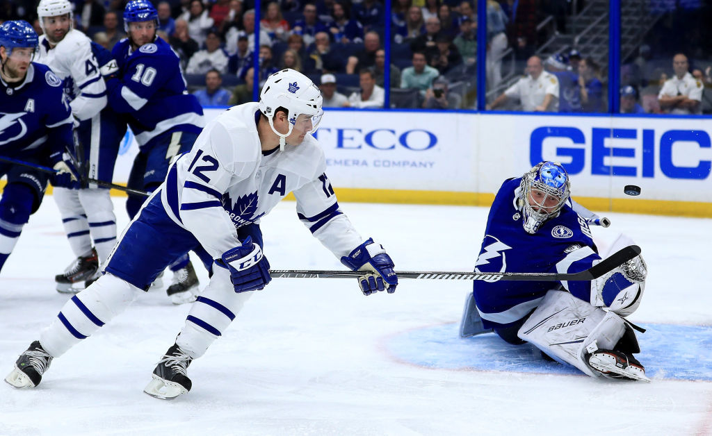 Tampa Bay goalie Andrei Vasilevskiy stymies Toronto's Patrck Marleau Thursday night (Getty Images).