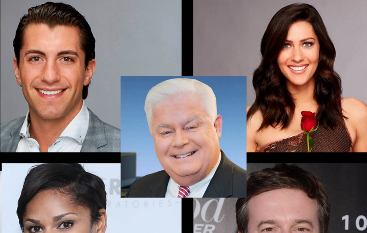 Clockwise, from top left, Jason Tartick, Kevin O'Connell, Becca Kufrin, Jeff Glor and Jericka Duncan.