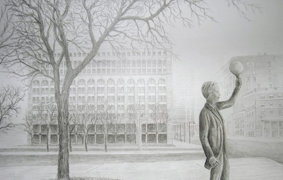 A rendering by artist Stephen Russ of the planned Tesla statue which is being built by Larry Griffis III.  (Photo of rendering courtesy of Martin McGee)