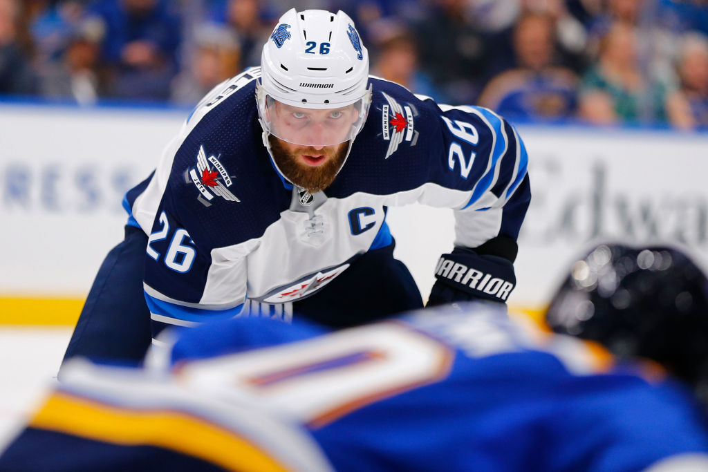 Winnipeg captain Blake Wheeler entered the weekend tied with Colorado's Mikko Rantanen for the NHL lead in assists with 42. (Getty Images).