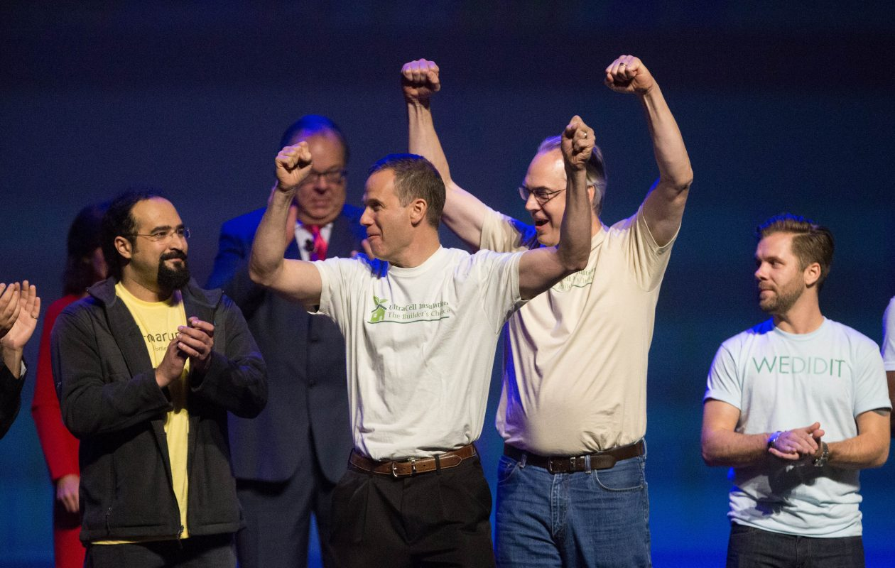The team from UltraCell, now called CleanFiber, celebrated its $500,000 prize at 43North in 2016. (News file photo)