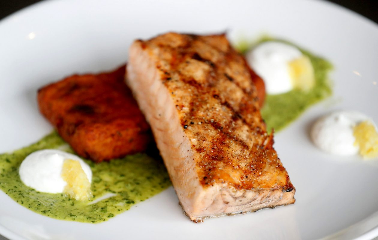 Grilled salmon at Dōbutsu in Buffalo Wednesday, December 5, 2018.    (Mark Mulville/Buffalo News)