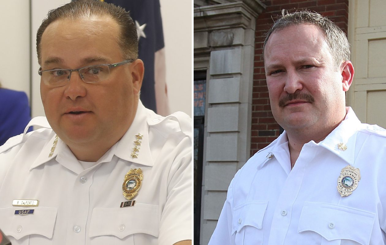 Niagara Falls Police Superintendent E. Bryan DalPorto, left, will step downDec. 31 and resume his old rank as a patrol captain. Fire Chief Thomas Colangelo, right,  quit in November and resumed his former rank as a battalion chief. (News file photos)