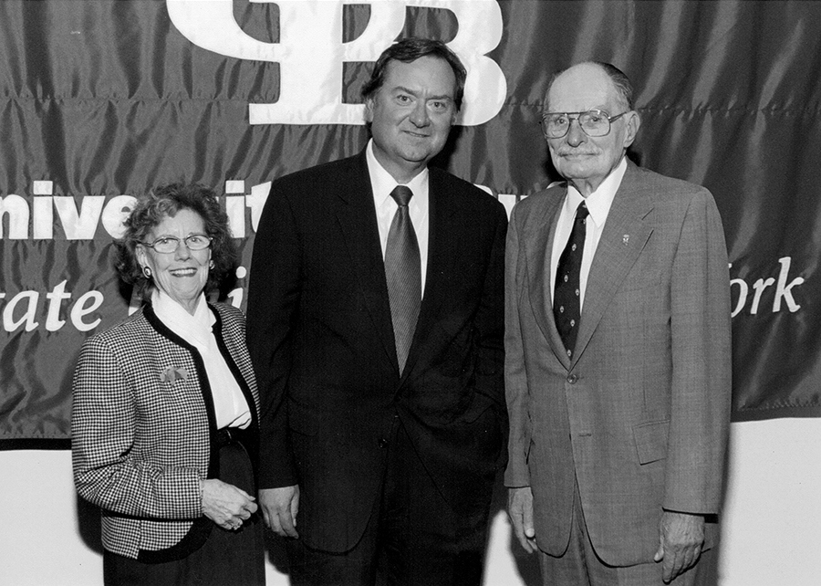 Dr. George M. Ellis Jr., right, with his wife, Gladys Kelly, and the late NBC journalist and Buffalo native Tim Russert. Ellis' contributions to the University at Buffalo total $56.8 million. (Photo courtesy of UB archives)
