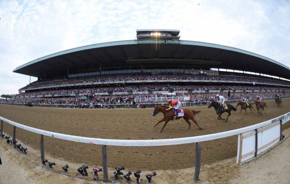 Justify wins the Triple Crown at Belmont Park on June 7.  Photo Credit: Adam Coglianese/NYRA