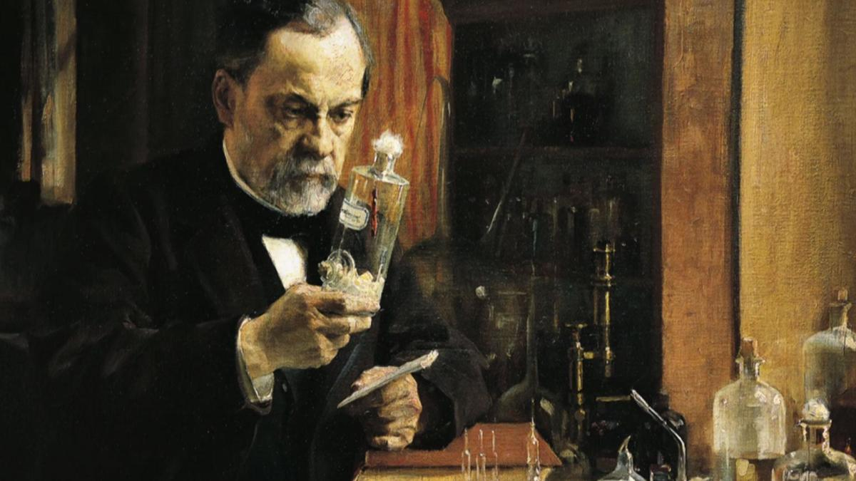 Painting of Louis Pasteur in his lab, circa 1880.