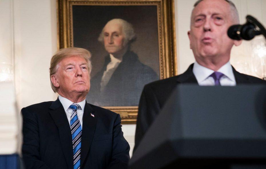 President Donald Trump listens to Defense Secretary Jim Mattis speak in the Diplomatic Reception Room at the White House in March 2018. (Jabin Botsford/Washington Post)