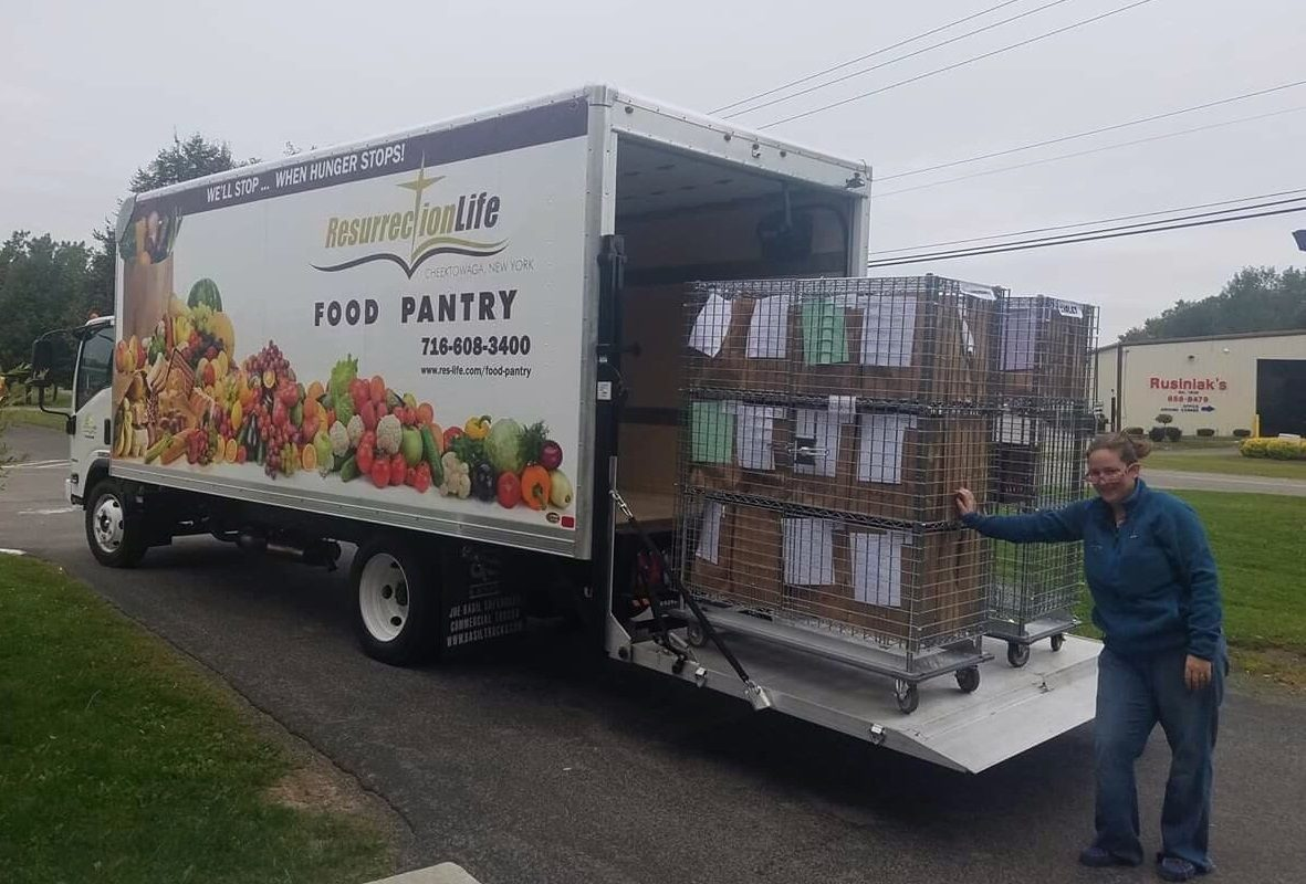 Someone put Resurrection Life Food Pantry's delivery truck out of commission by stealing parts last week. (Courtesy Resurrection Life Food Pantry)