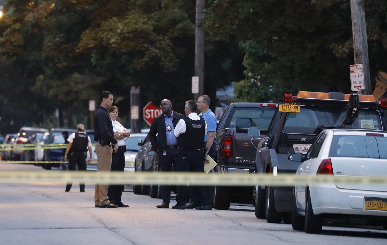 Buffalo Police investigate on Plymouth Avenue where an officer-involved shooting occurred early in the morning on Wednesday, Sept. 12, 2018. (Derek Gee/News file photo)