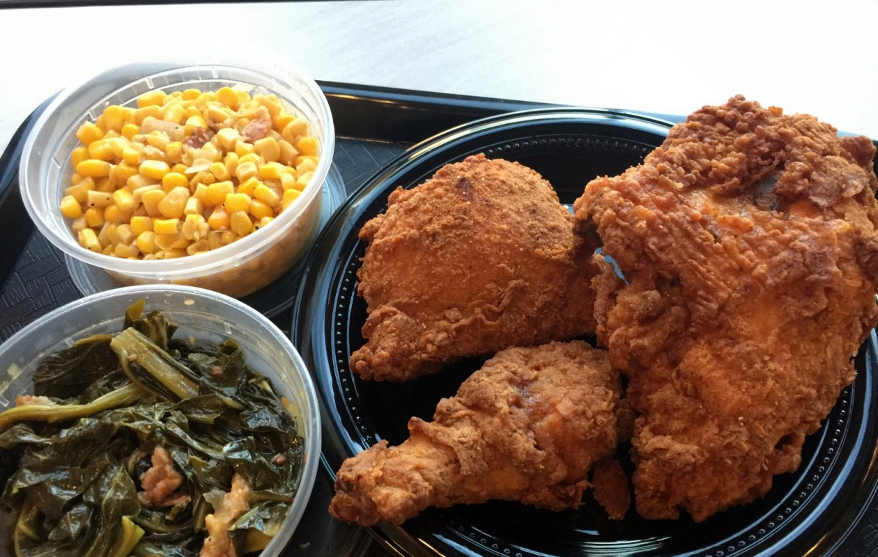 The Rt. 16 Chicken Shack basic meal includes leg, thigh, breast, two small sides and a biscuit (not available at photo time). (Andrew Galarneau/Buffalo News)
