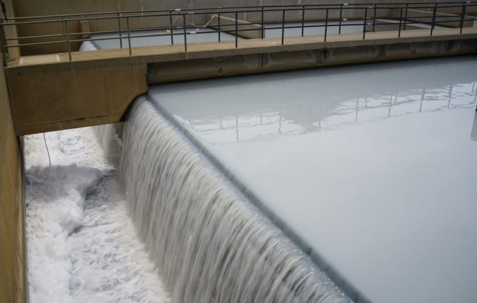 Treated effluent flows from the chlorine contact tank before leaving the Niagara Falls Wastewater Treatment Plant to be discharged into the Niagara River downstream from the Rainbow Bridge. (Derek Gee/News file photo)