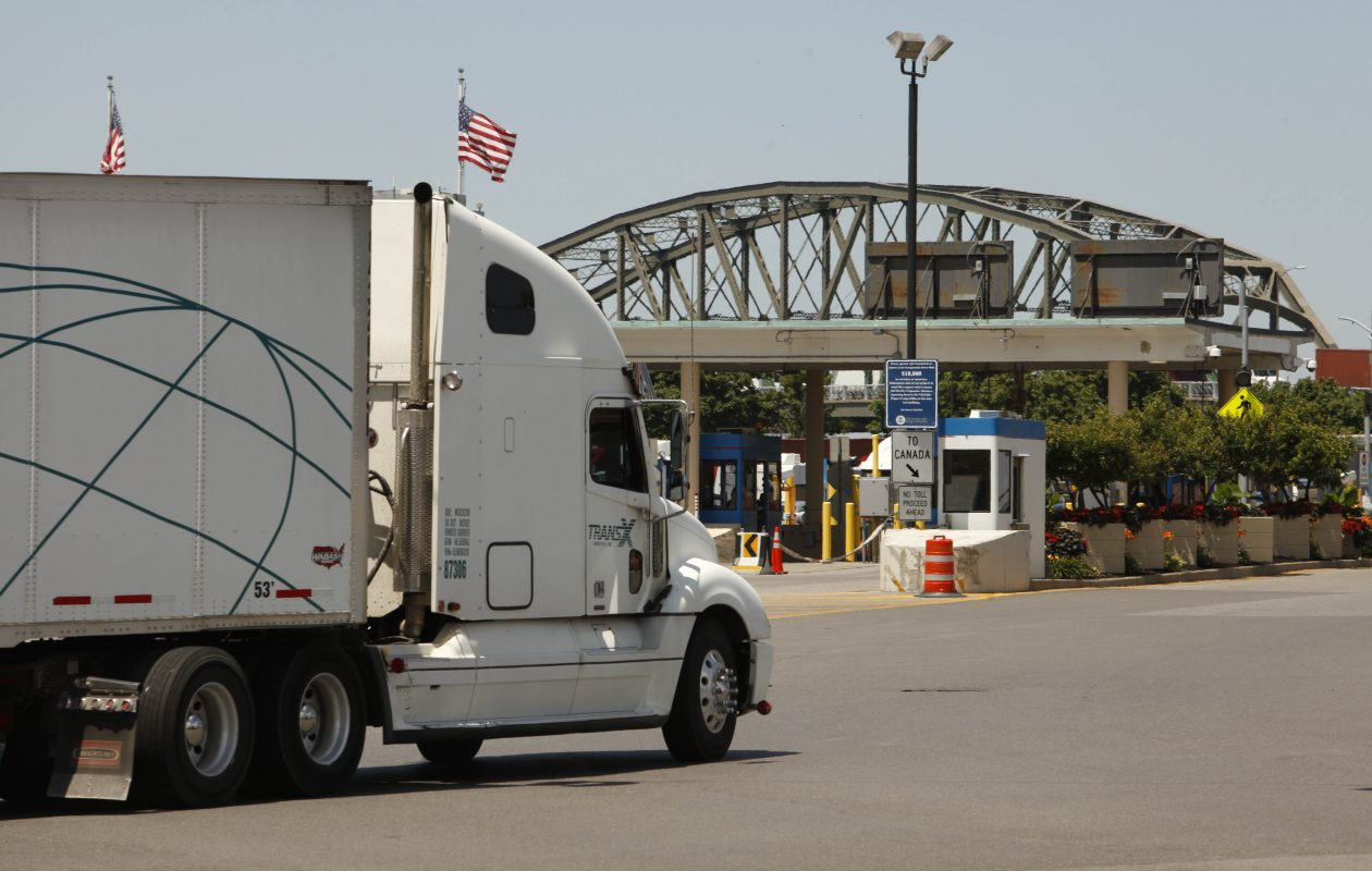 Truck crossings at the Peace Bridge are down 2 percent this year, continuing a long-term decline. Officials say new tariffs imposed on steel imports are part of the reason for the latest drop. (Derek Gee/News file photo)