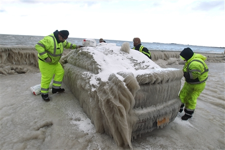 In January 2016, a car left in a parking lot near Hoak's caught interest nationwide after it became encased in ice. Thick ice.