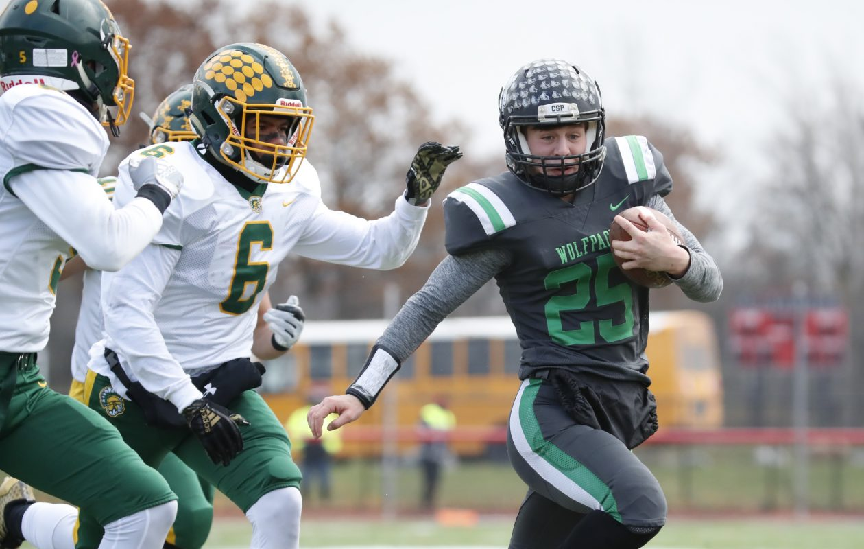 Clymer/Sherman/Panama running back Derek Ecklund runs against Alexander during the first half of the New York State Far West Regional Class D finals at Clarence High School on Saturday, Nov. 10, 2018. (Harry Scull Jr./ Buffalo News)