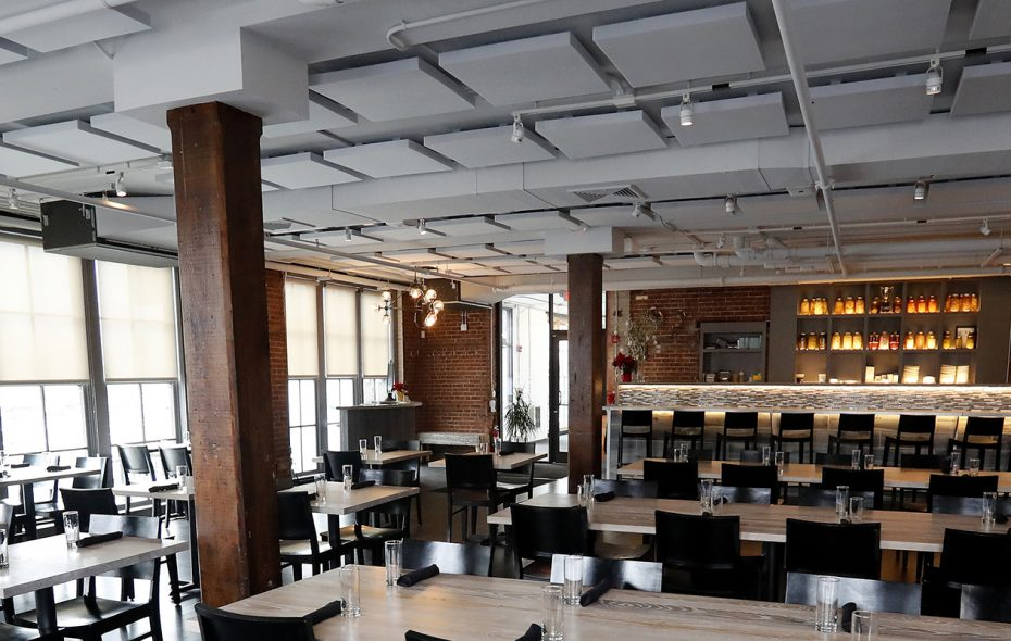 """Dobutsu, which opened in a former industrial space on Seneca Street, has undergone a sonic redesign, about which chef-owner James Roberts says the difference is """"night and day."""" (Mark Mulville/Buffalo News)"""