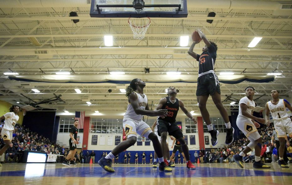 Park guard Keonjay Carter shoots against Niagara Falls during a game earlier this season.. Park remains No. 1 in the large schools poll but Niagara Falls moved up to No. 2. (Harry Scull Jr./ Buffalo News)