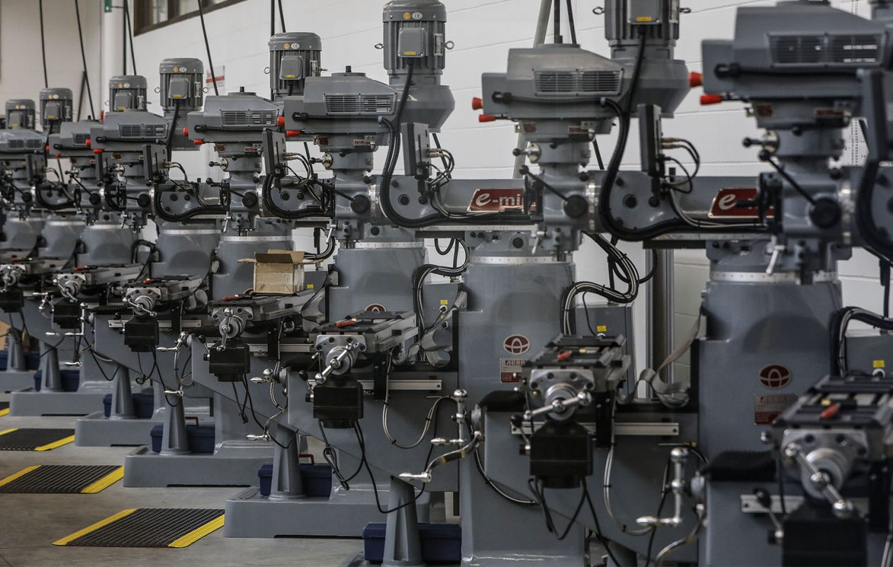 A row of milling machines in a classroom at the Northland Workforce Training Center, Friday, Dec. 14, 2018. (Derek Gee/Buffalo News)