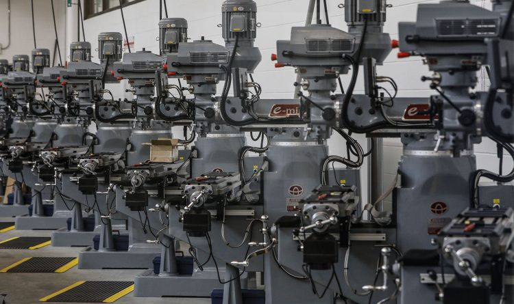 A row of milling machines in a classroom at the Northland Workforce Training Center on Friday, Dec. 14, 2018. (Derek Gee/Buffalo News)